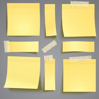 노란색 접착 테이프로 메모 게시