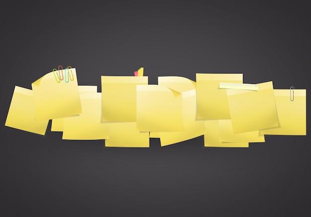 Желтый пост-он на черном фоне