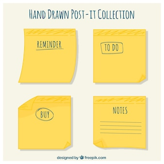 Yellow post-it pack with words