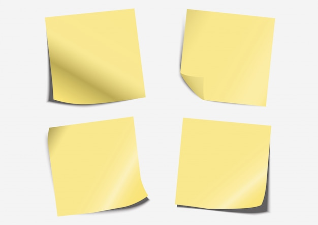 Yellow post note label paper folding set on board
