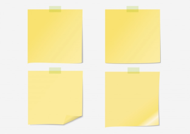Yellow post note paper set with sticky tape