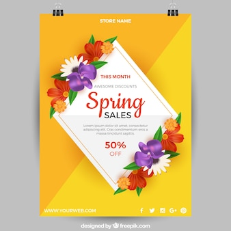 Yellow poster template for spring sales