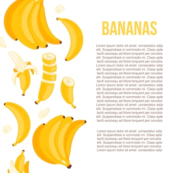 Yellow poster template with illustration of bunches of banana