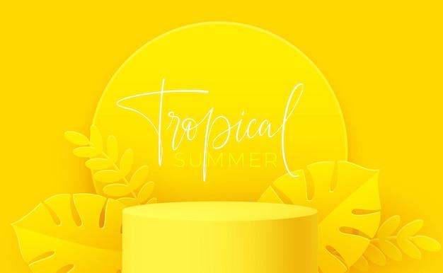 Желтый продукт-подиум с вырезанным из бумаги листом монстеры на желтом фоне