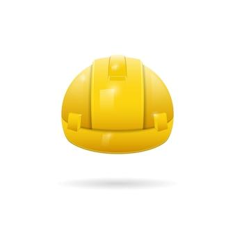 Yellow protective construction helmet 3d