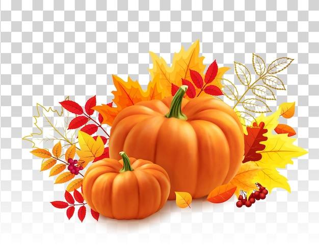 Yellow pumpkins autumn leaves on transparent background autumn festival invitation postcard or banne...
