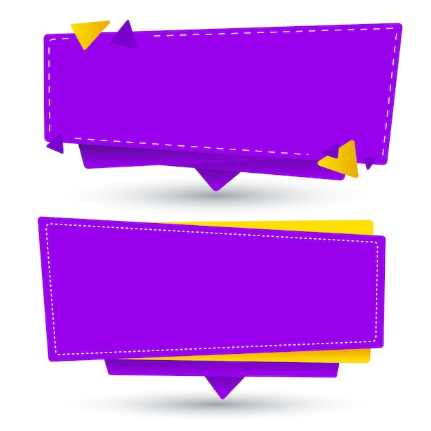 Yellow and purple blank banner set