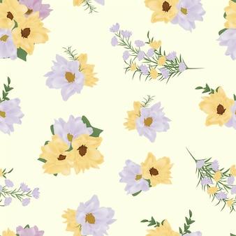 Желтый фиолетовый цветочный бесшовный узор