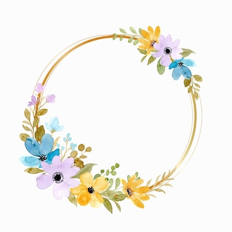 Yellow purple floral wreath with gold circle