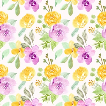 Yellow purple flower watercolor seamless pattern