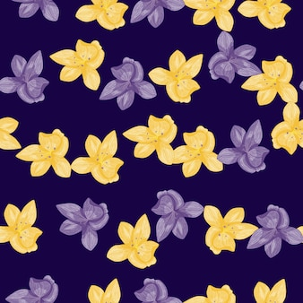 Yellow and purple orchid flowers seamless pattern in doodle style