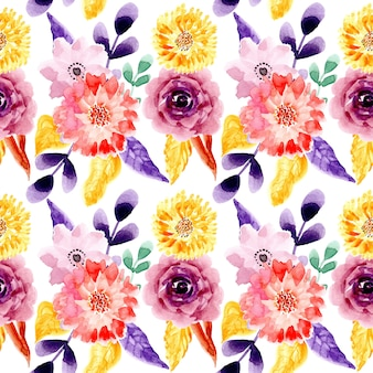 Yellow purple watercolor floral seamless pattern