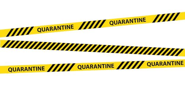 分離された黄色の検疫警告テープ