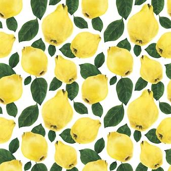 Желтая айва фрукты и зеленые листья бесшовные модели