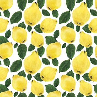 Yellow quince fruits and green leaves seamless pattern