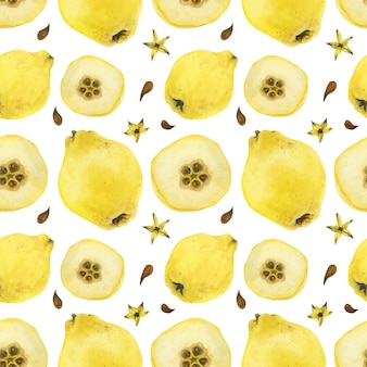 Yellow quince fruits and half-fruits seamless pattern