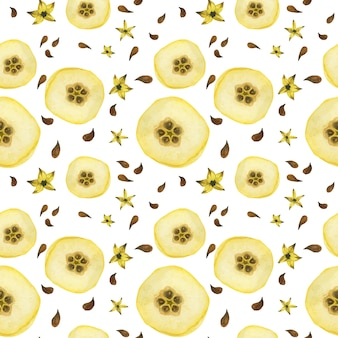 Yellow quince half-fruits seamless pattern