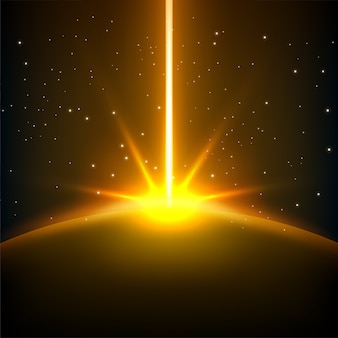 Yellow rays rising with space background