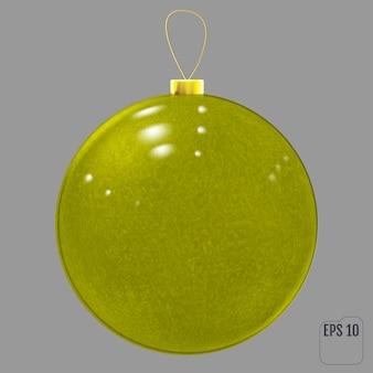 黄色のリアルなガラスのクリスマスボール。黄色のテクスチャのクリスマスボールの装飾。ベクター