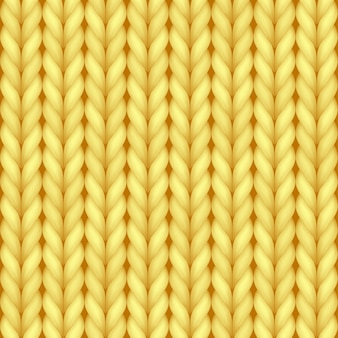Yellow realistic knit texture seamless pattern of cozy wool