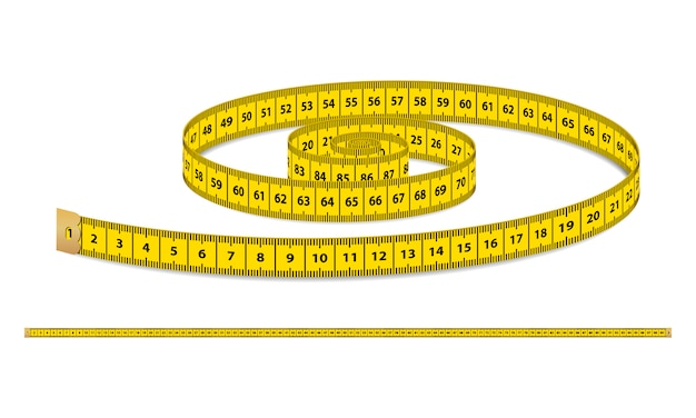 Yellow realistic measuring tape, strap for clothing isolated