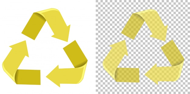 Yellow recycling sign white background