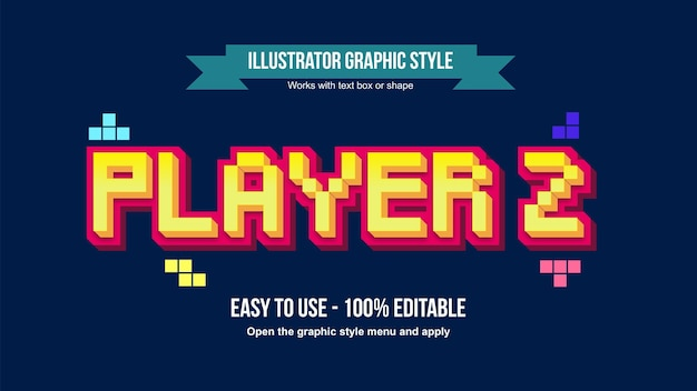 Yellow and red 3d pixelated editable text effect