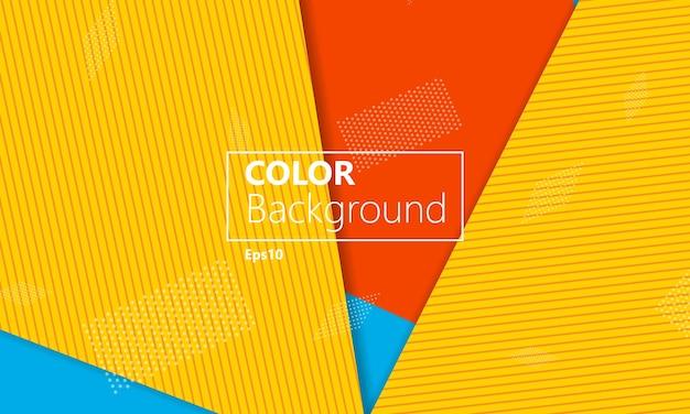 노란색, 빨간색 및 파란색 기하학적 배경입니다.