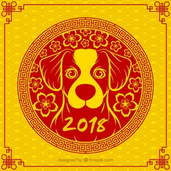 Yellow and red chinese new year background