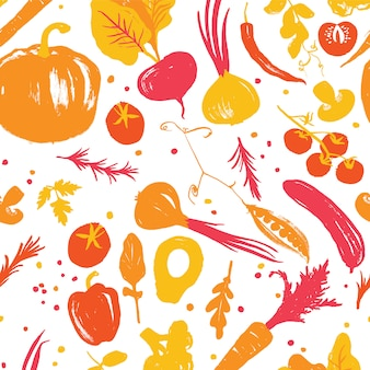 Yellow-red colored vegetable seamless pattern with a half-square shift. autumn crop. farm market products. fall palette
