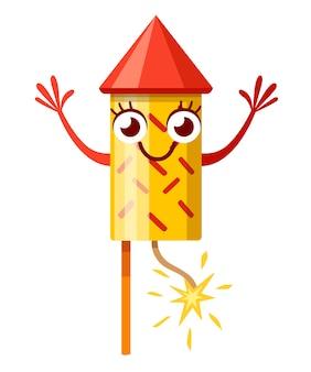 노란색 빨간색 불꽃 놀이 로켓. 캐릭터 . 불꽃 놀이 마스코트. 불타는 심지와 로켓. 흰색 배경에 그림입니다.