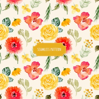 Yellow red flower watercolor seamless pattern