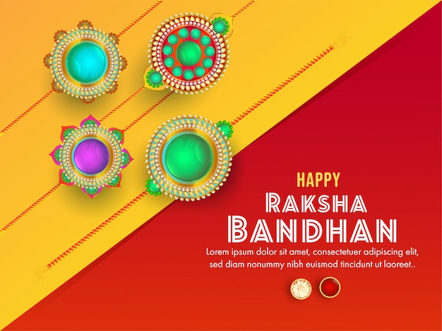 Yellow and red greeting card decorated with various beautiful rakhi for happy raksha bandhan celebration.
