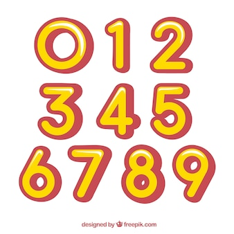 Yellow and red number collection