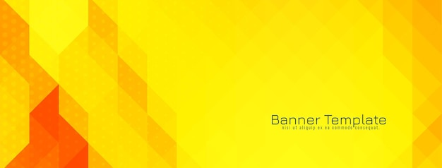 Yellow and red triangular mosaic pattern banner design vector