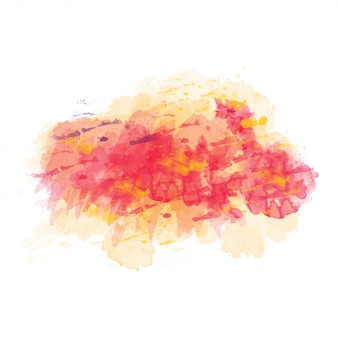 Yellow and red watercolor painted vector stain isolated
