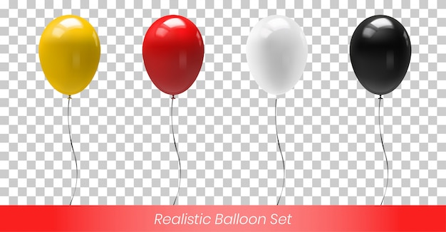 Yellow red white and black reflective balloon