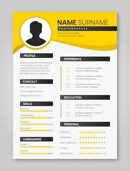 Yellow resume minimalist pack