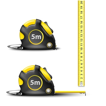 Yellow retractable steel measuring tape with imperial and metric measurements isolated