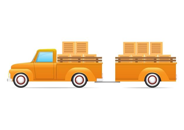 白い背景で隔離の黄色のレトロな車。黄色のピックアップトラックの側面図。