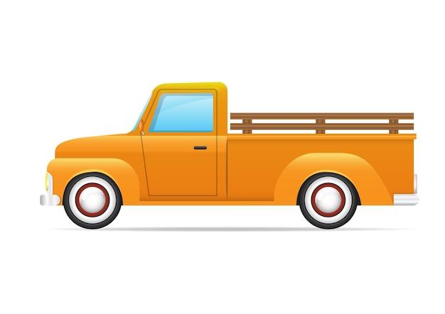 分離された黄色のレトロな車。黄色のピックアップトラックの側面図。