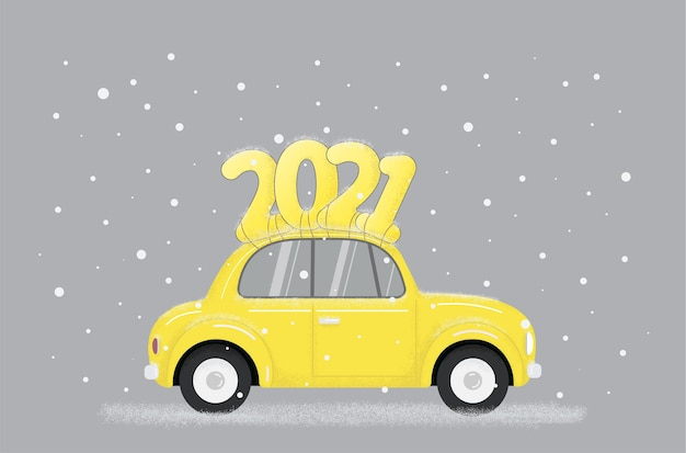 Yellow retro car with text on roof in modern trendy Premium Vector