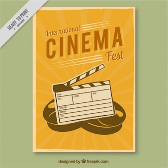 Yellow retro film poster with hand drawn clapper