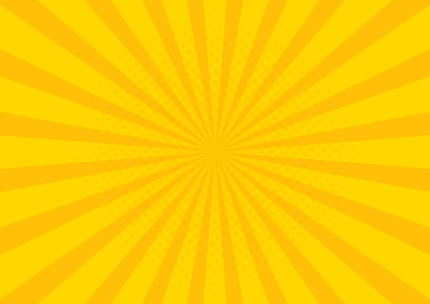 Yellow retro vintage style background with sun rays