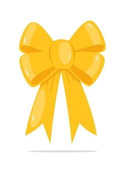 白で隔離の黄色いリボンの弓の休日の装飾