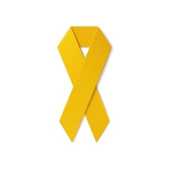 白い背景で隔離の黄色いリボン。