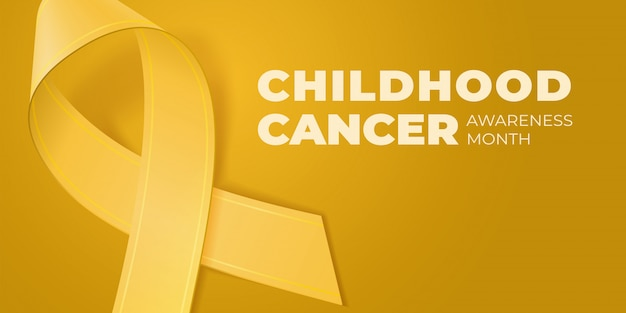 Yellow ribbon on yellow background with copy space for your text. childhood cancer awareness month typography. medical symbol in september.  illustration for banner, poster, invitation, flyer.