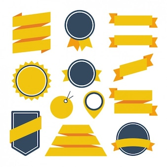 Yellow ribbons and badges design