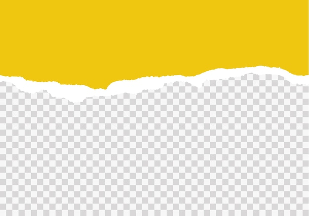 Yellow ripped paper strips realistic torn paper on transparent background seamless horizontally vector illustration