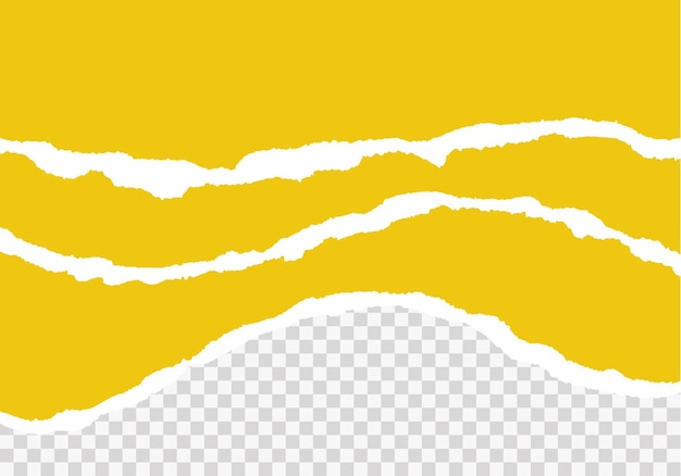 Желтые рваные бумажные полоски реалистично. рваная бумага